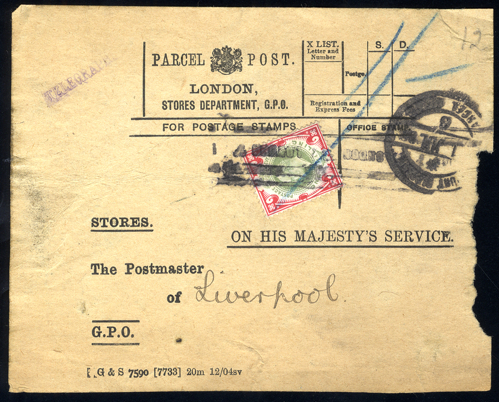 c1910 O.H.M.S PARCEL POST LABEL/LONDON, STORES DEPARTMENT to the Postmaster of Liverpool