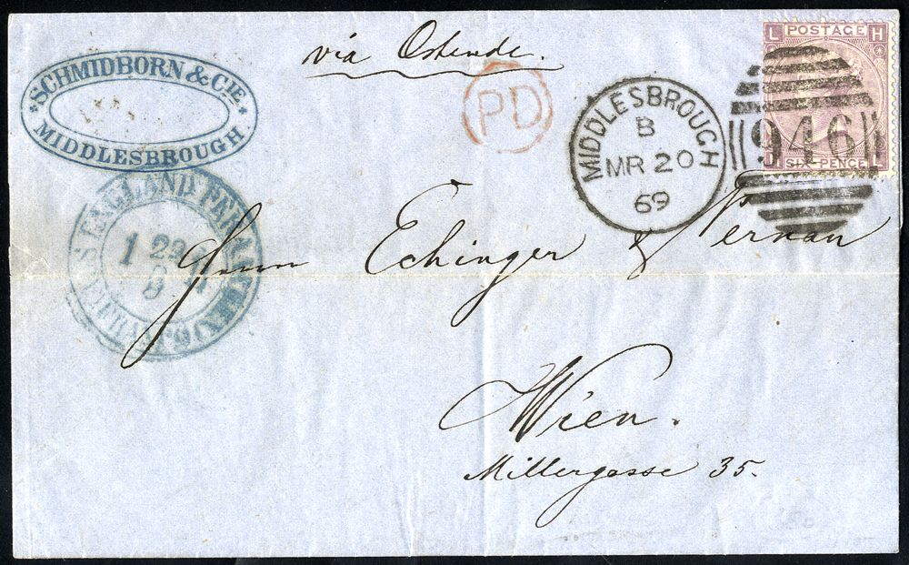 1869 cover to Vienna franked 6d lilac Plate 6