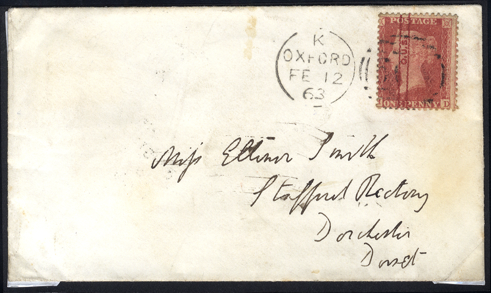 1863 Feb 12th envelope to Dorchester, Dorset, franked 1d Stars Plate 57 bearing protective overprint O.U.S for Oxford Union Society