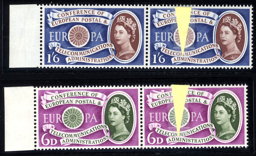 1960 Europa 6d & 1/6d, each marginal pair incl. minor constant flaws