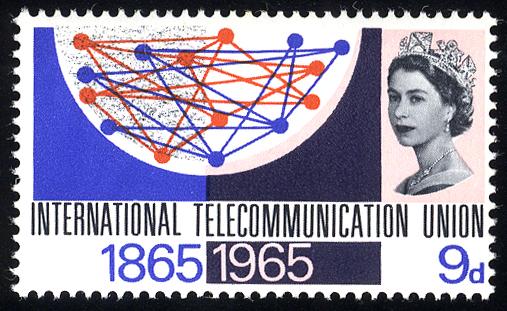 1965 I.T.U 9d wmk inverted, UM