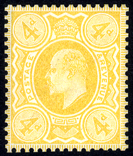 1910 4d colour trial, very fine example printed in yellow on gummed Crown wmk paper