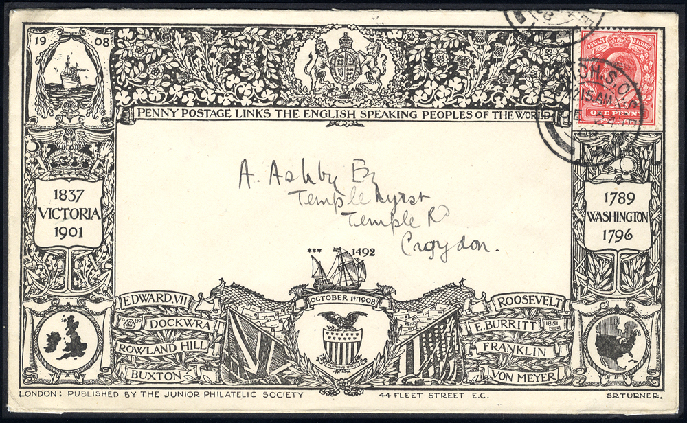 1902 decoratively printed Junior Philatelic Society envelope used in London from Dulwich to Croydon