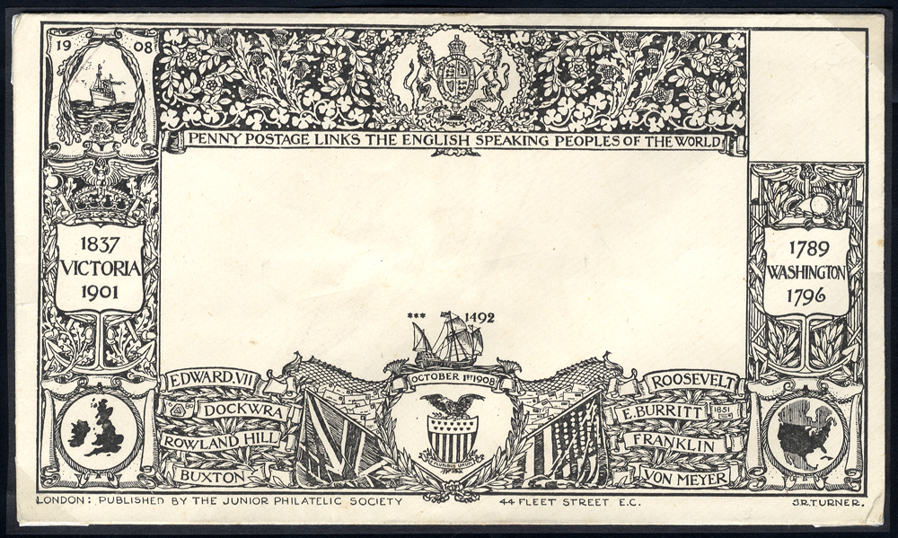 1902 decoratively printed Junior Philatelic Society envelope for Penny Postage to the USA - unused