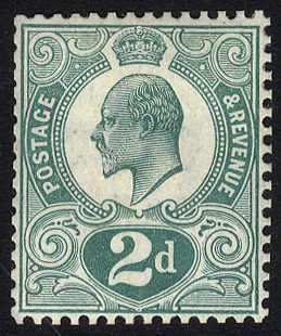 1910 2d 'Tyrian Plum' colour trial, very fine perforated example in dull blue-green on gummed paper, wmk Crown