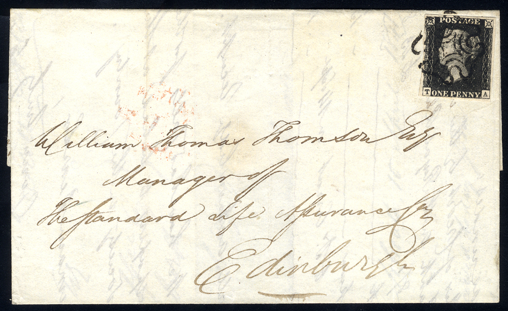 1841 cover from Arbroath to Edinburgh, franked Plate 5 TA