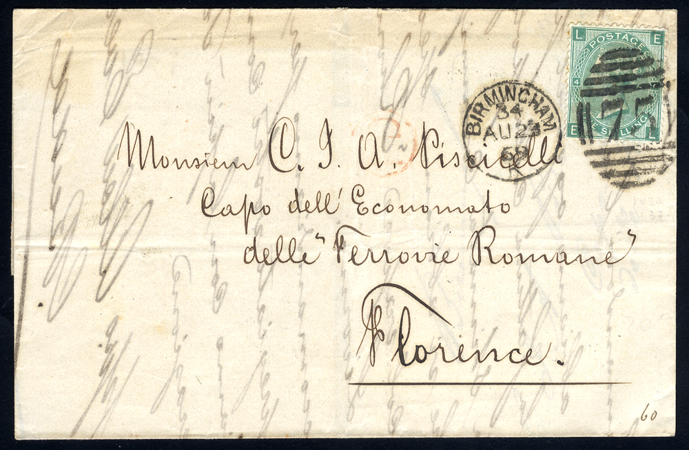 1869 cover to Florence, Italy, franked 1s green Plate 4