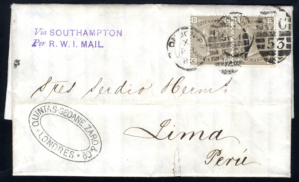 1880 cover to Lima, Peru, franked 4d grey brown Plate 17 pair