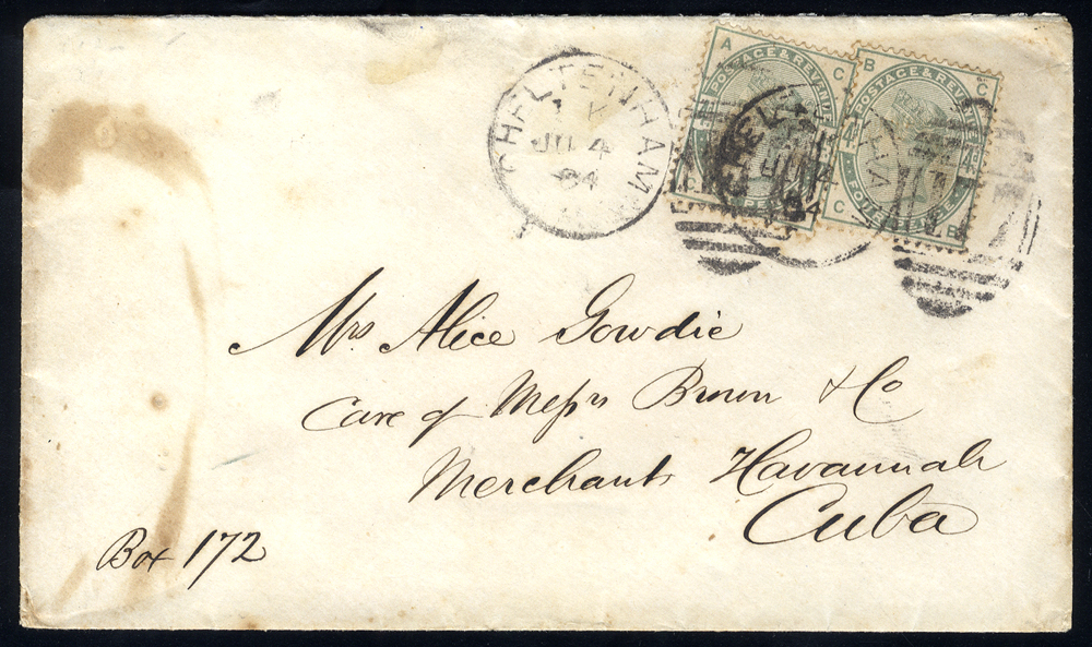 1884 cover to 'Merchant Havannah, Cuba' franked 4d dull green x2