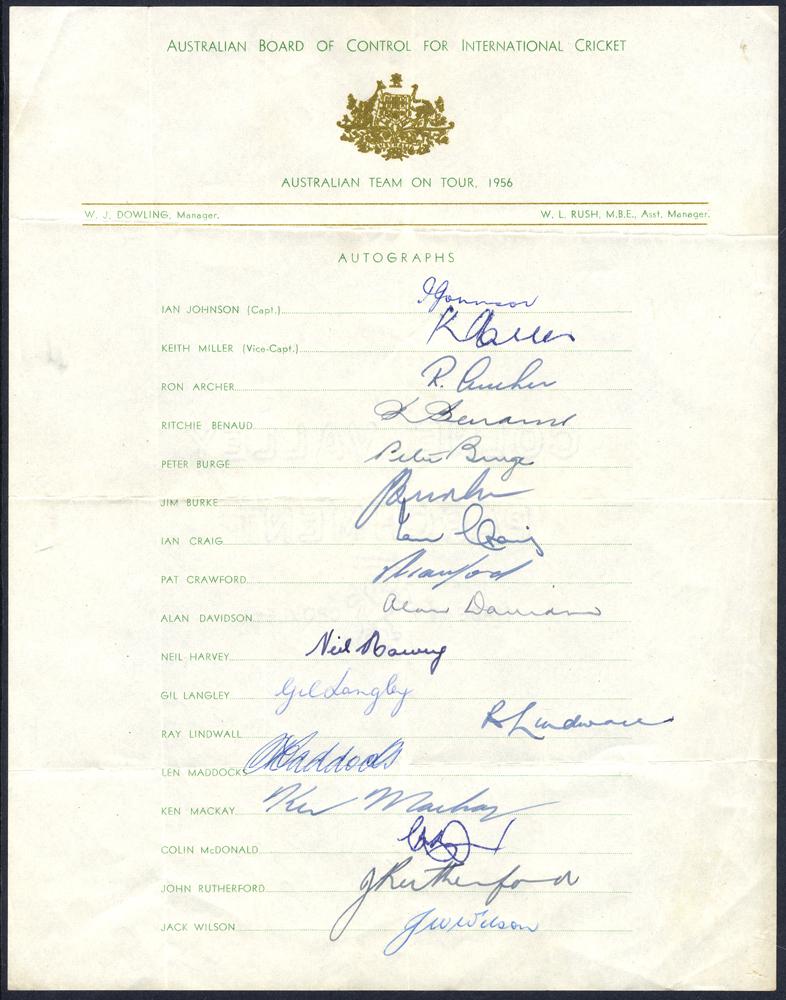CRICKET - 1956 Australian Team on Tour of England