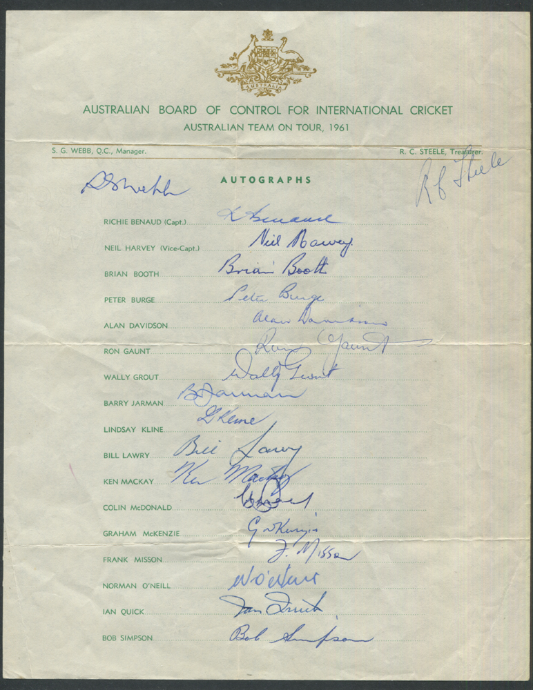 CRICKET - 1961 Australian Team on Tour of England