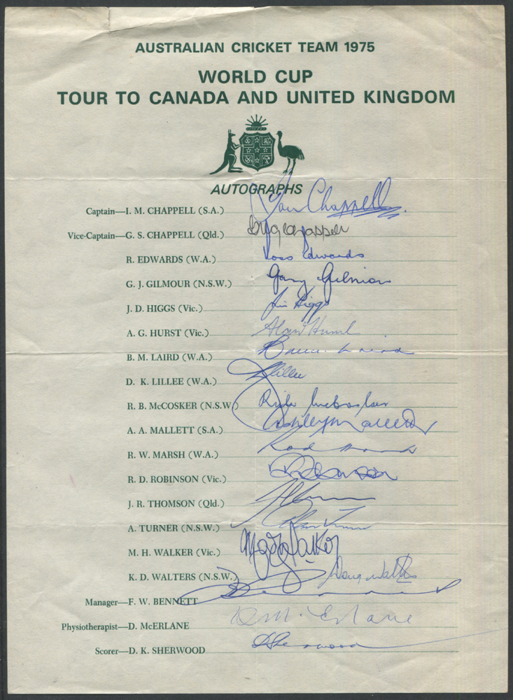 CRICKET - 1975 Australian World Cup Team on Tour of Canada & the UK