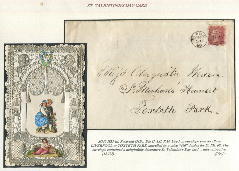 1857 1d rose-red HD on envelope sent locally in Liverpool to Toxteth Park (envelope contains Valentine's Day card)