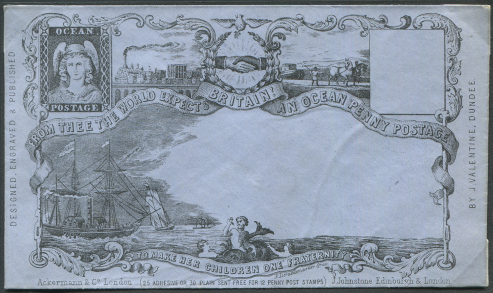 VALENTINE OCEAN PENNY POSTAGE envelope - a fine Deraedemaker re-print on blued paper