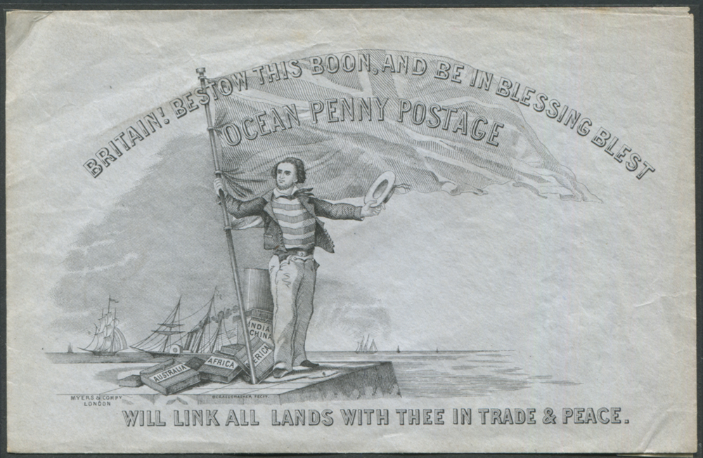 VALENTINE OCEAN PENNY POSTAGE envelope - a good unused Deraedemaker on grey wove paper