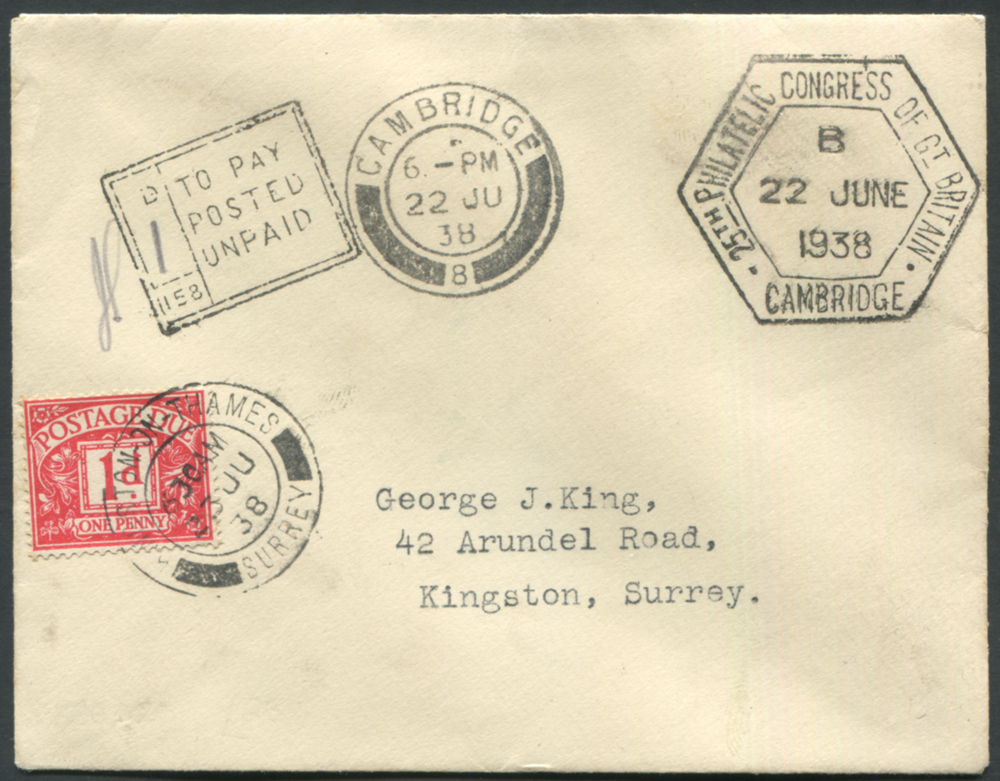 1938 June 22nd Philatelic Congress of GB cover to Kingston, Surrey bearing Congress cancel