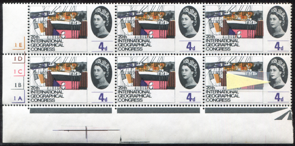 1964 Geographical 4d Cylinder block of six incl. variety