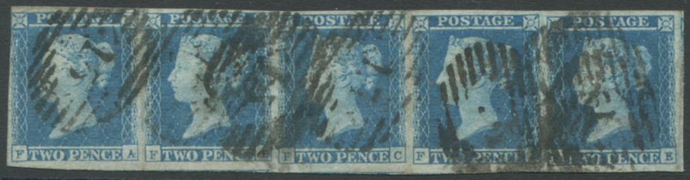 1841 2d blue Pl.4 FA-FE horizontal STRIP OF FIVE