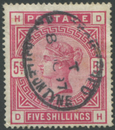 1883 5s rose, oval registered Newcastle on Tyne date stamp