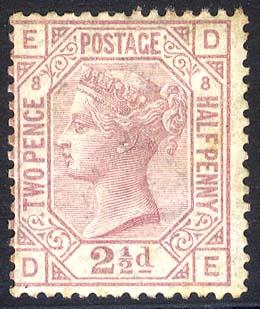 1876 Wmk Orb 2½d rosy mauve DE Plate 8