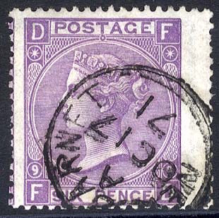 1869 Wmk Spray 6d dull violet Plate 9
