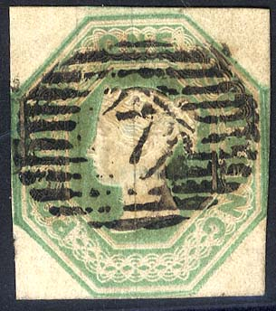 1847-54 1s green, barred oval London district numeral