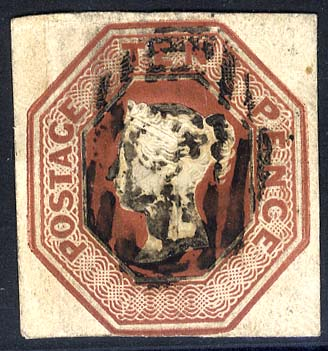 1847-54 10d brown - FINE USED
