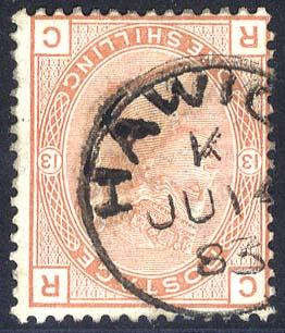 1881 Wmk Imperial Crown 1s orange brown Plate 13