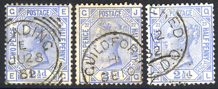 1880-83 Wmk Imperial Crown 2½d blue set of three Plates 21, 22 & 23