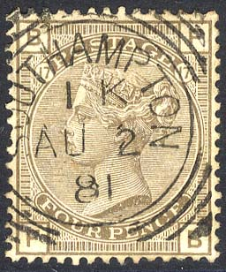 1880-83 Wmk Imperial Crown 4d grey-brown Plate 17