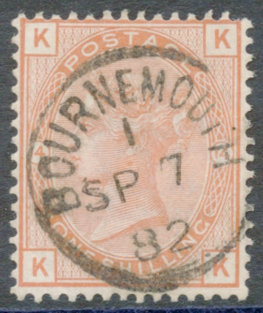 1881 Wmk Imperial Crown 1s orange brown Pl.14, VFU
