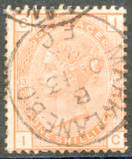 1881 Wmk Imperial Crown 1s orange brown Pl.13, VFU