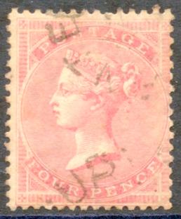 1857 Wmk Large Garter 4d rose carmine, FINE USED