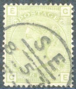 1877 Wmk Large Garter 4d sage green Pl.15, VFU