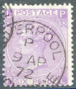 1867 Wmk Spray 6d mauve (without hyphen) Pl.9, VFU