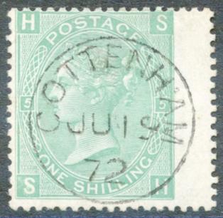 1867 Wmk Spray 1s green Pl.5, SUPERB USED