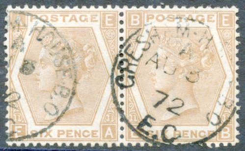 1872 Wmk Spray 6d pale chestnut Pl.11 horizontal pair, VFU
