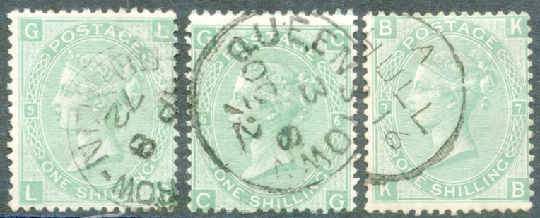 1867-73 Wmk Spray 1s green Plates 5, 6 & 7