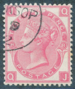 1872 Wmk Spray 3d rose Pl.8, SUPERB USED