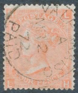 1865 Wmk Large Garter 4d dull vermilion Pl.12, USED