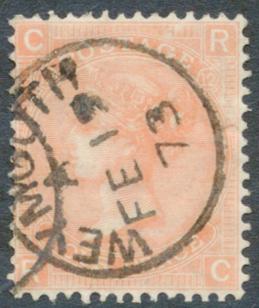 1865 Wmk Large Garter 4d vermilion Pl.12, VFU