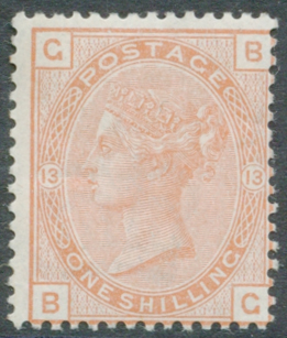 1881 Wmk Imperial Crown 1s orange brown Pl.13, MINT