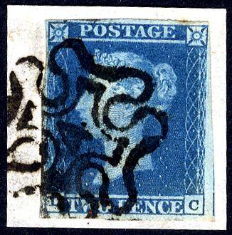1841 2d blue - Plate 3 TC