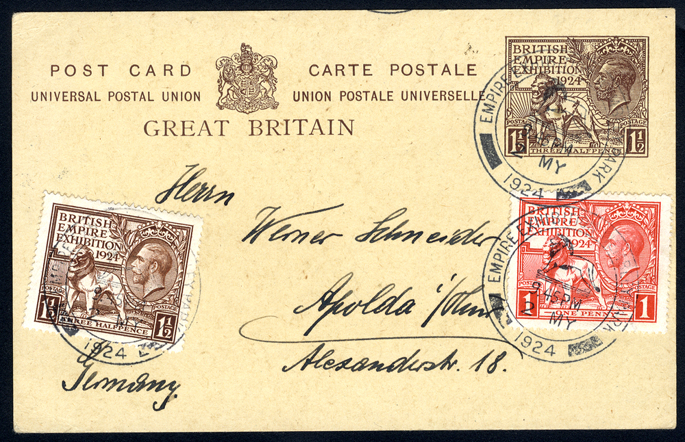 1924 Wembley 1½d postcard (CP 86) uprated to Germany with Wembley 1924 1d & 1½d adhesives