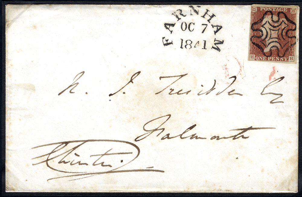1841 envelope from Farnham to Falmouth, franked red from black Pl.8 HH
