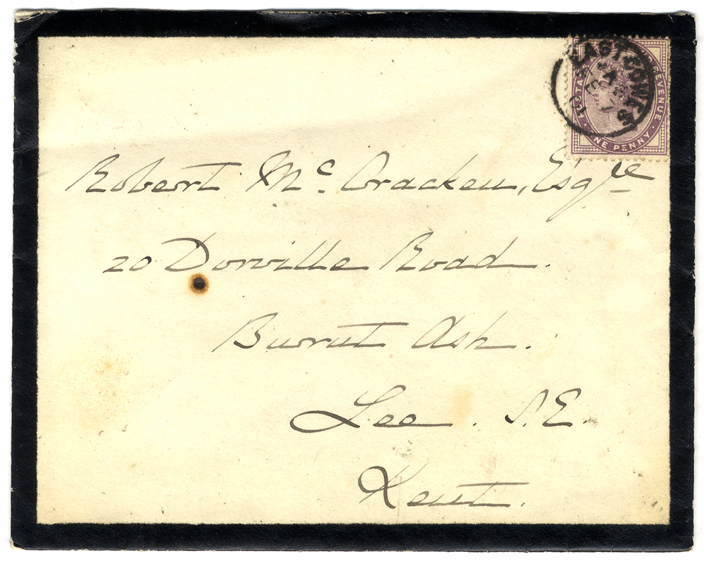 1901 black border mourning envelope to Lee, Kent, back flap printed 'Crown/Royal Yacht' franked 1d lilac