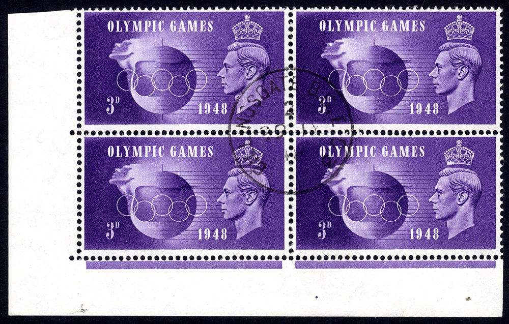 1948 Olympics 3d violet, VFU corner marginal block of four incl. 'Crown flaw' & 'Hooked 3'
