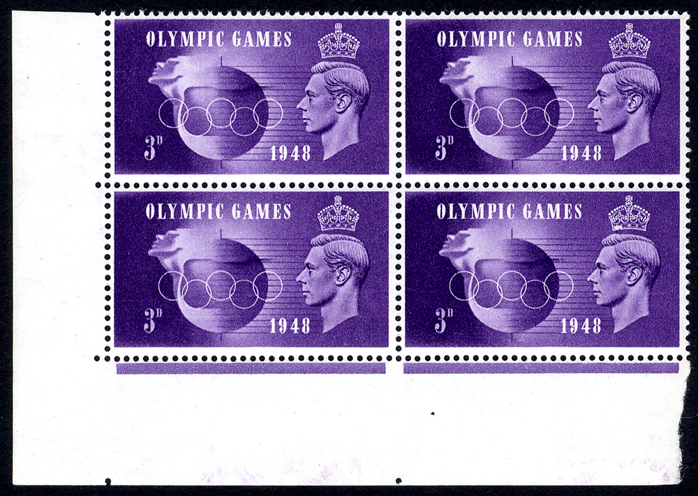 1948 Olympics 3d violet, UM corner marginal block of four incl. 'Crown flaw' & 'Hooked 3'