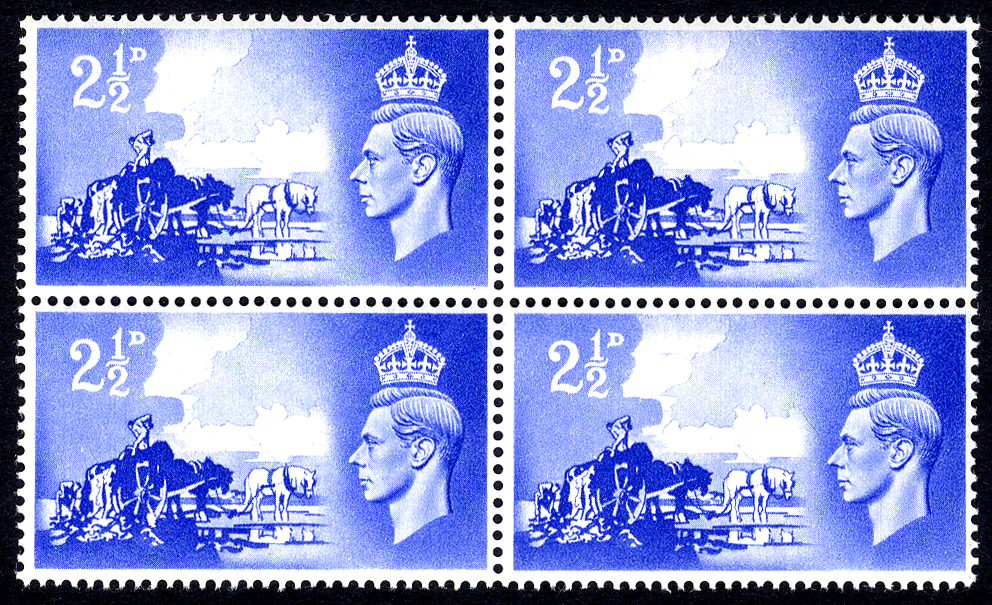 1948 Channel Islands Liberation 2½d ultramarine, UM block of four incl. 'Broken Wheel' flaw