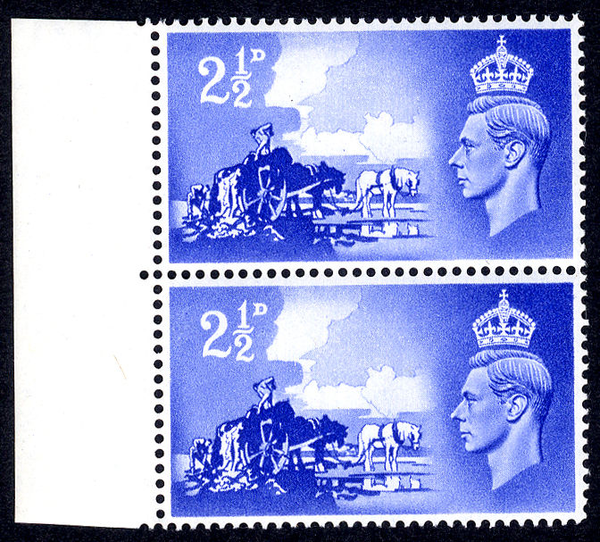 1948 Channel Islands Liberation 2½d ultramarine marginal UM pair incl. 'Line across Wheel' flaw